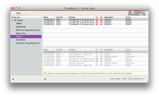 TimeBandit X main timesheet window screenshot