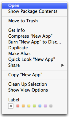 Open from the contextual menu